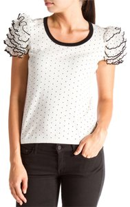 RED Valentino Black Short Sleeve Ruggle Knit Polka Dot Shirt T Shirt White