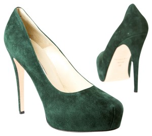 Brian Atwood Dark Green Suede Pumps