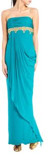 Marchesa Teal Gold Embellishment Gown Dress