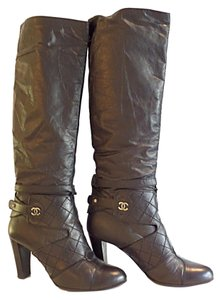 Chanel Heel Tall Leather Black Boots