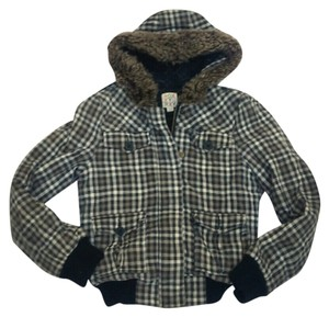 Roxy Womens Faux Fur Plaid Multicolored Hooded Size Medium Multicolored Plaid Jacket