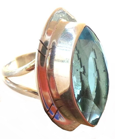 Other Large Blue Topaz 925 Sterling Silver Ring 5.5