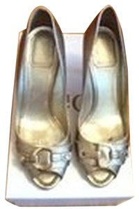 Dior Christian Size7.5 High Geel Shose Gold Sandals