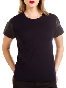Vince Leather Wool Knit T Shirt black