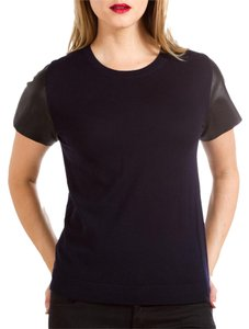 Vince Leather Wool Knit Short Sleeve T Shirt Navy/Black