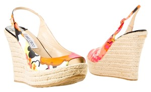 Jimmy Choo Heels Floral Espadrille Pump Multicolor Peep Toe Slingback Buckle Ankle Strap Wedges