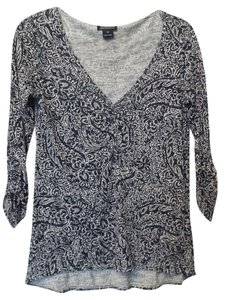 Lucky Brand Knit Viscose High Low Hem Drawstring Top Blue, White