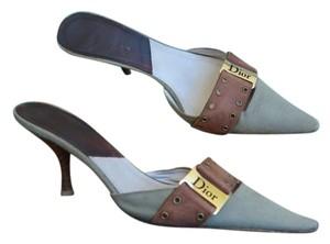 Dior Christian Canvas Size 39.5 Green Mules