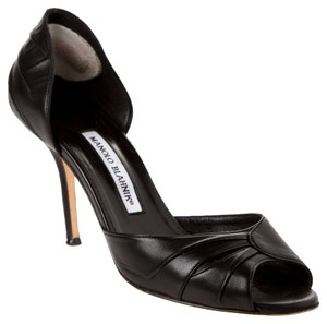 Manolo Blahnik Manolo Leather D'orsay Stiletto Heels High Black Pumps