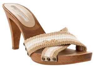 Stella McCartney Sandals Heels Wood Tan Cream/tan Mules