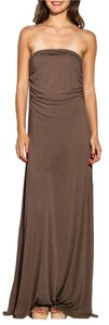 Brown Maxi Dress by Rick Owens Strapless Long Maxi Cotton Rayon Nylon Lilies Taupe