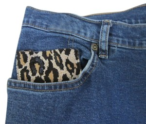 GABBY D Trendy Denim Leopard Embellished Straight Leg Jeans-Medium Wash