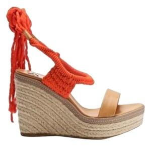 Lanvin Espadrille Orange/Camel Wedges