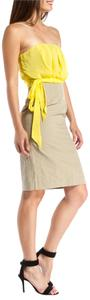 RED Valentino Yellow Strapless Colorblock Dress