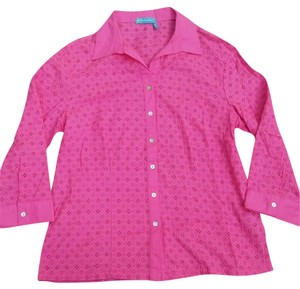 Fresh Produce Womens Hot Eyelet Shirt Medium Button Down Shirt Pink