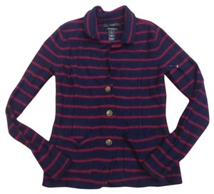 Tahari Womens Navy Striped Cardigan