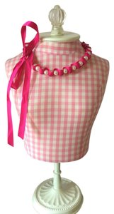 Fuchsia Satin Ribbon & Pearl Necklace