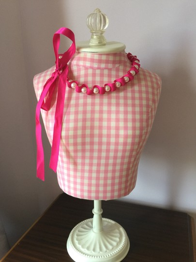 Other Fuchsia Satin Ribbon & Pearl Necklace