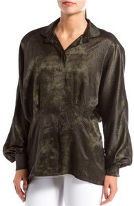 Escada Top Dark Green with black print