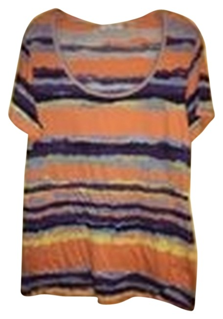 Preload https://img-static.tradesy.com/item/8325934/whitemulti-colored-lightweight-tangerine-striped-retail-tee-shirt-size-16-xl-plus-0x-0-3-650-650.jpg