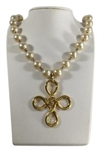 Chanel Pearl and Gold Cross Pendant Necklace