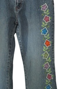 Cosmopolitan Embellished Embroidered Boot Cut Jeans-Acid