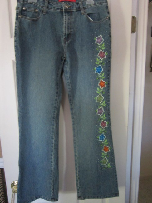 Cosmopolitan Embellished Embroidered Beaded Boot Cut Jeans-Acid