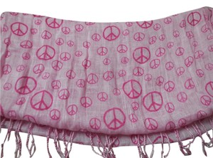 AMC Accessories Pink Scarf with Peace Signs
