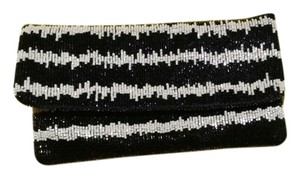 BCBGMAXAZRIA Beaded Black & White Clutch