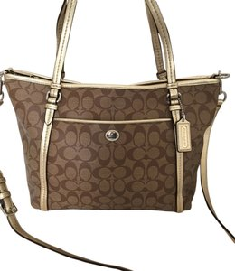 Coach Peyton Signature Khaki Tote in Khaki/Gold