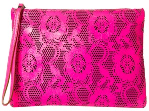 Christopher Kane Pink Floral Zipper Patent Leather Wristlet in Neon Pink