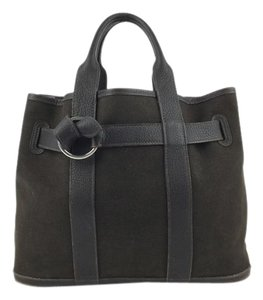 Herms Leather Tote Satchel in Brown