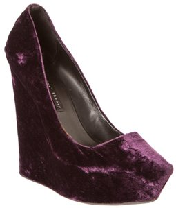 Theory Velvet Theyskens' Purple Wedges