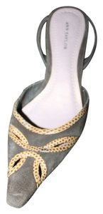 Ann Taylor Brazilian Leather Slingbacks Espresso with Gold & Brown Trim Pumps