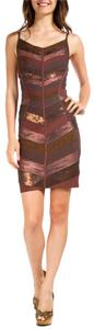 Hervé Leger Herve Bronze Sequin Dress