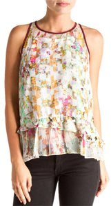 Elizabeth and James Silk Kaleidoscope & Peplum Blouse Colorful Top multi