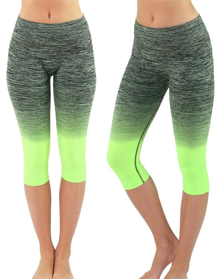 01cd636a88 Black & Neon Green High Waist Fitness Pants Printed Stretch Cropped Leggings  Activewear Sportswear