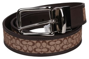 "Coach Coach f90107 Mens Reversable Belt Size 36"" Khaki and Mahogany: MSRP $148"