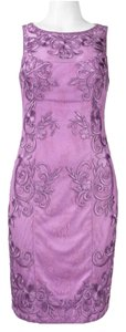 Sue Wong Sleeveless Lace Embroidered Sheath Dress