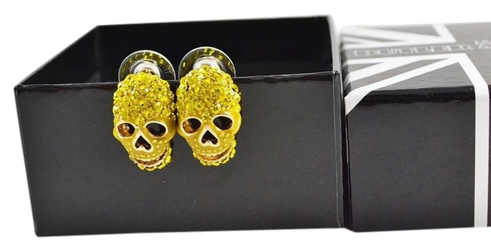 4c36a87efad30 Butler & Wilson Gold Box New In Yellow Rhinestones On Skull Pierced Earrings