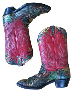 Larry Mahan Leather Python Western Cowboy Multi-colored Handmade Soft Butter One Of A Kind American Luxury Vintage Red Boots