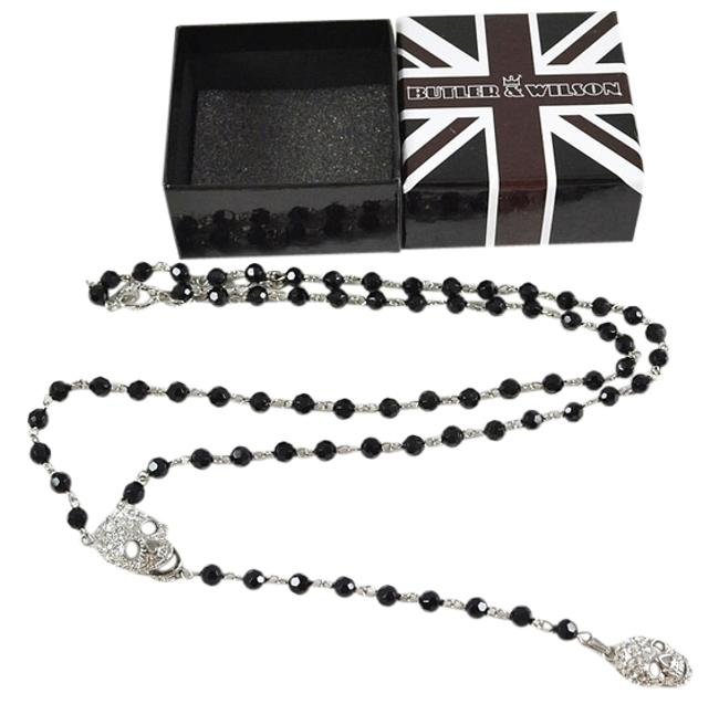"""Item - Black Silver Box New In Rhinestones Double Skull Rosary """"Y"""" Necklace"""