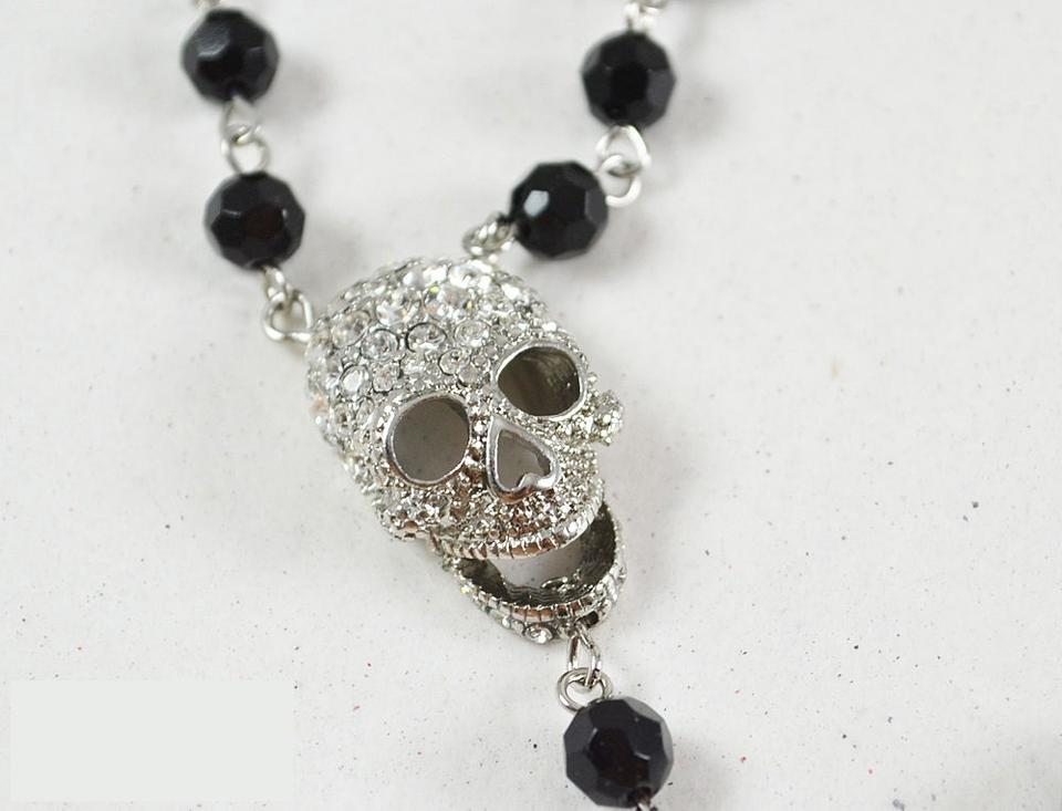 Butler and Wilson Clear Crystal 8 Skull Cross Rosary Beaded Chain Necklace NEW