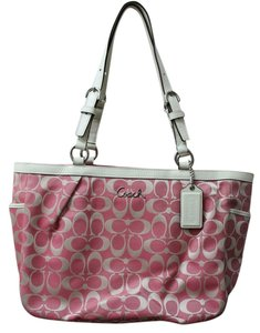 a2922fed12176 Coach Purse Purse Pink and White Cloth Leather Shoulder Bag - Tradesy