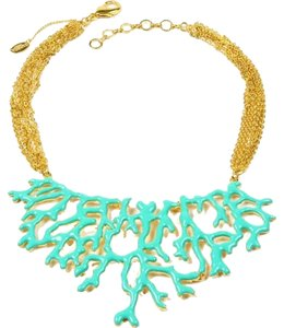 Amrita Singh Amrita Singh Coral Branch Bib Necklace NEW IN BOX Turquoise/Gold