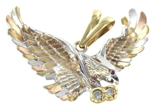Other Solid 14kt Yellow Rose White Gold American Eagle Pendant with white stones and red stone