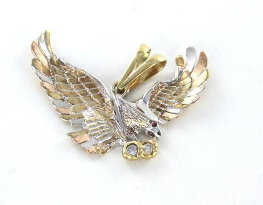 Other Solid 14kt Yellow Rose White Gold American Eagle Pendant with white stones and red stone Image 3