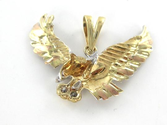Other Solid 14kt Yellow Rose White Gold American Eagle Pendant with white stones and red stone Image 4