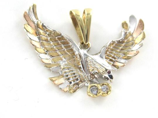 Other Solid 14kt Yellow Rose White Gold American Eagle Pendant with white stones and red stone Image 7