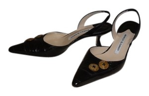 Manolo Blahnik eel skin black Pumps